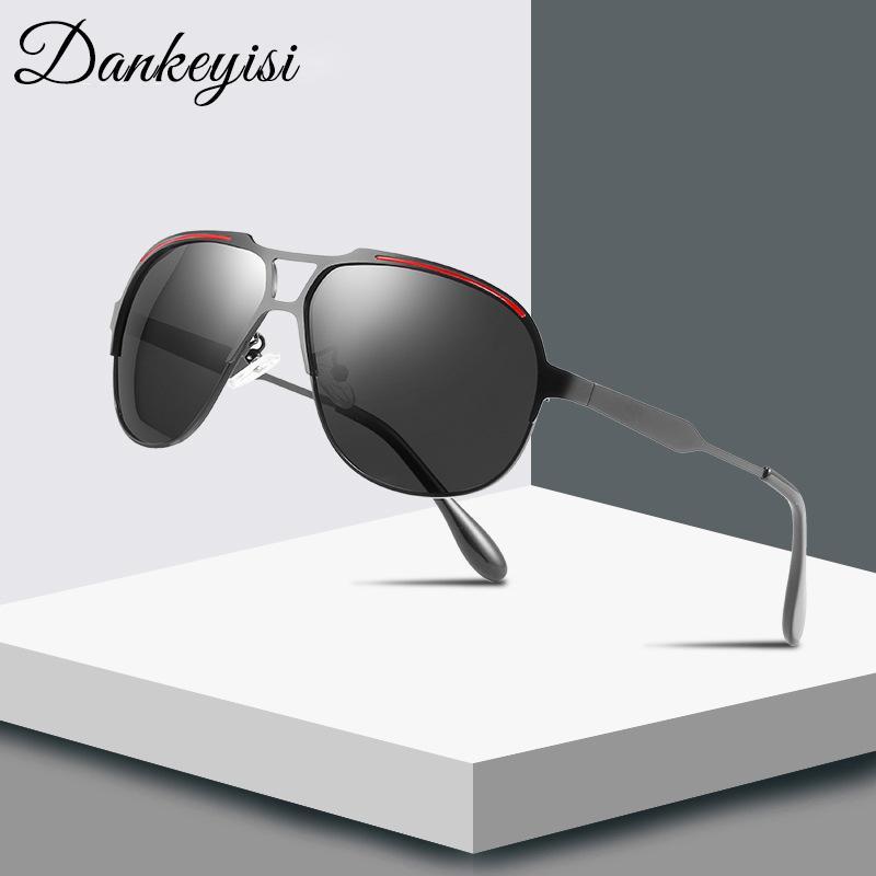 DANKEYISI Pilot Lunettes de soleil hommes lunettes de soleil polarisées Homme Femme Classic Lady Mirror Driving Sunglass Femmes UV400 Metal Frame