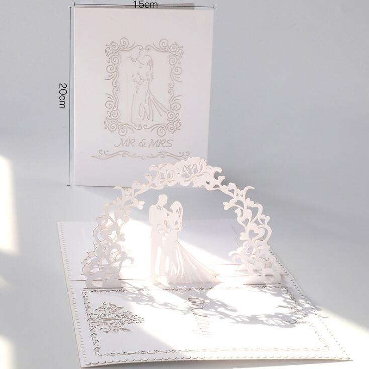 Yeni Lazer Kesim Düğün Davetiyeleri Kartları İçin Gelin Nişan Parti Kartları 3D Hollow Out Davet Mektubu Düğün Malzemeleri Tebrik