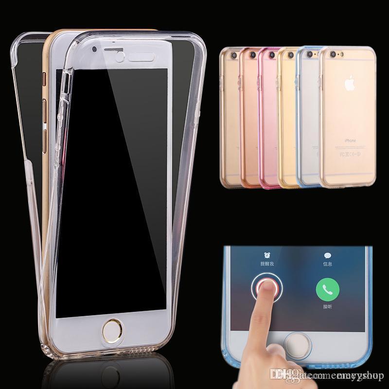 Para iPhone 11 pro xs xr x 8 6 6s 7 mais casos protege flexível macia cheia corpo claro caso capa para samsung S8 s9 s10 nota 9 8 10
