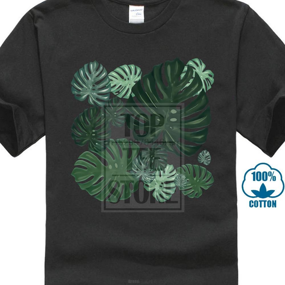 Neue Ankunft Botanic Blätter T-Shirt Sommer-Grün Schwarz Tops Für Erwachsene kundenspezifische Familien-Männer weicher Baumwolle T-Shirt