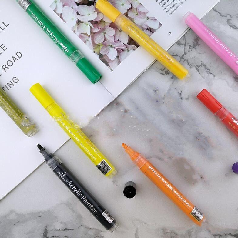 السيراميك ماركر اللوحة أقلام كتابات الاكريليك علامات الطلاء فرشاة فنان رسم زيتي doodle مجموعة اللوازم المدرسية 12 قطعة / المجموعة zcgy193