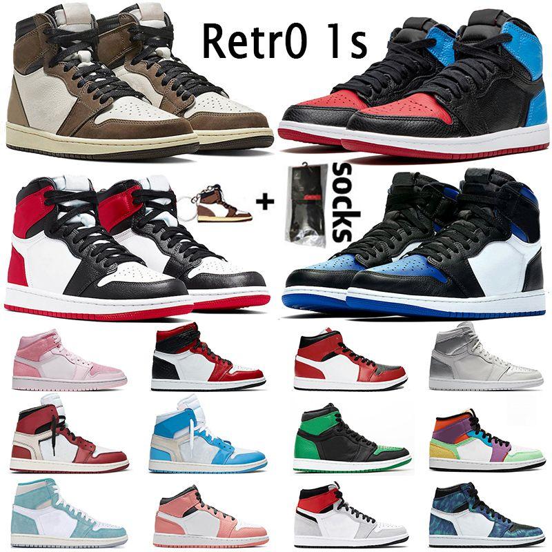 nike air jordan retro 1 hombre de los zapatos de baloncesto Ture verde satén añicos retro criado prohibida sin miedo azul real chicago deportes para mujer formadores 1s
