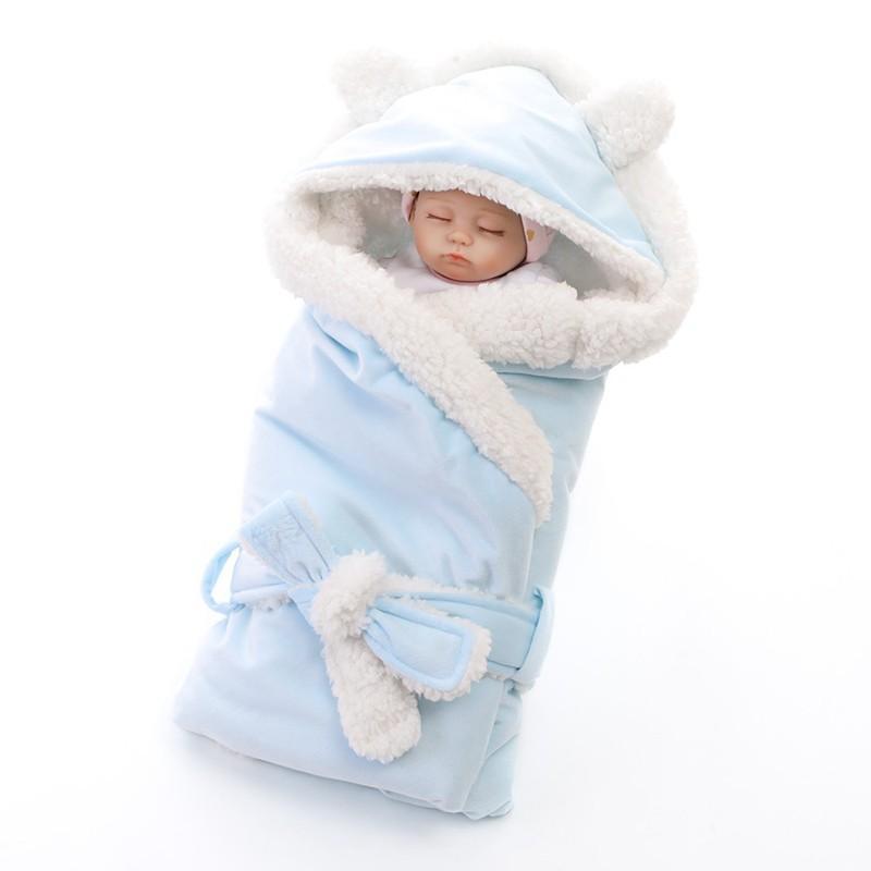 Invierno muchachas de los bebés Manta capa envolvente doble paño grueso y suave del bebé de empañar Saco de dormir para los recién nacidos del lecho del bebé Kid Manta