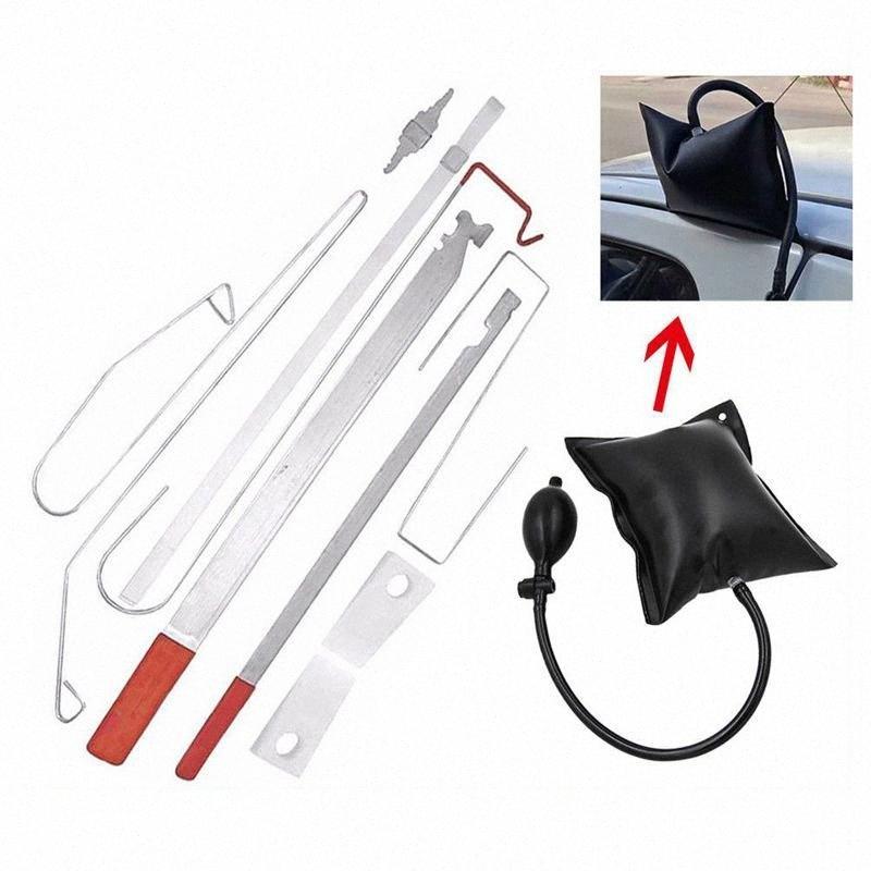 Araba Kapı Kilidi Çıkışı Acil Açık kilidini Anahtar Araçları Kiti + Siyah Hava Pompası Evrensel Uan1 #