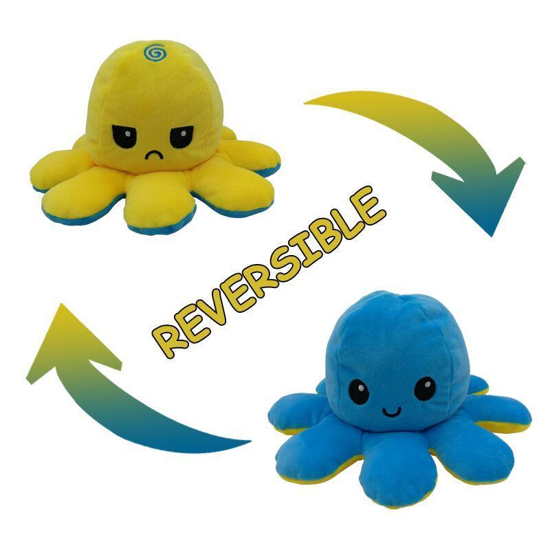 Sevimli çevrilmiş ahtapot çift taraflı ifadesi Flipped ahtapot bebek peluş oyuncak 10cm 23 renk çocuk bebek Peluş oyuncak hediye bebek