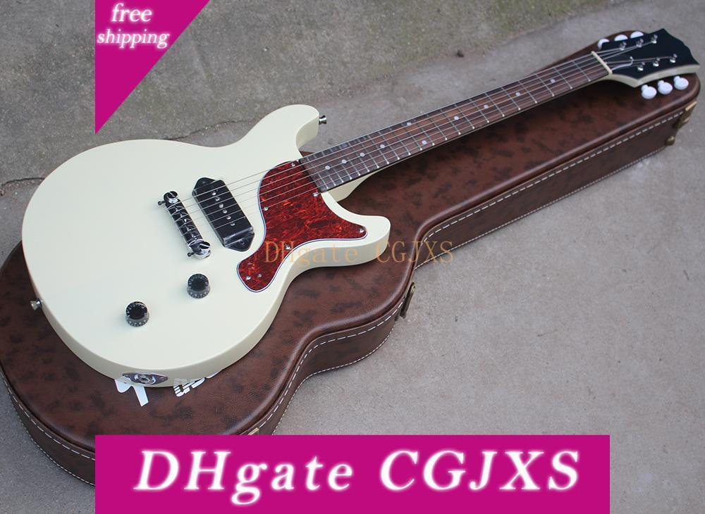 Envío gratuito White Cortar la guitarra eléctrica con un Estuche duro, P90, Red Pearl Pickguard, palisandro, puede ser Customizedred
