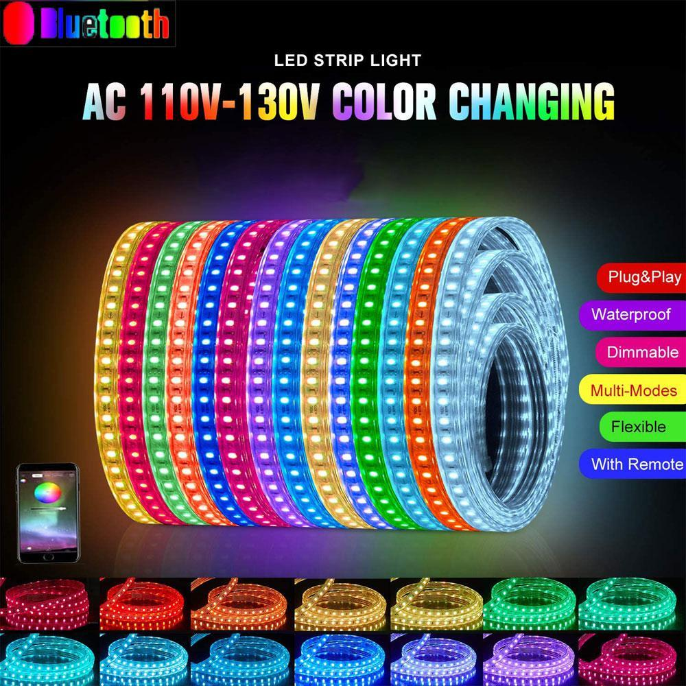 Led Strip Light ,220v Bluetooth /App Dimmable 5050 Rgb Flexible Color Changing Waterproof Rope Light With Remote For Building Outdoor Home