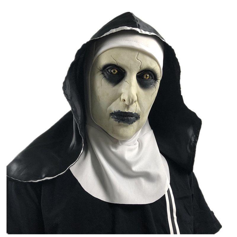Nun Masque de latex Terreur Face Full Head Head Masques Scary Cosplay Costume Halloween Party accessoires JK2009XB