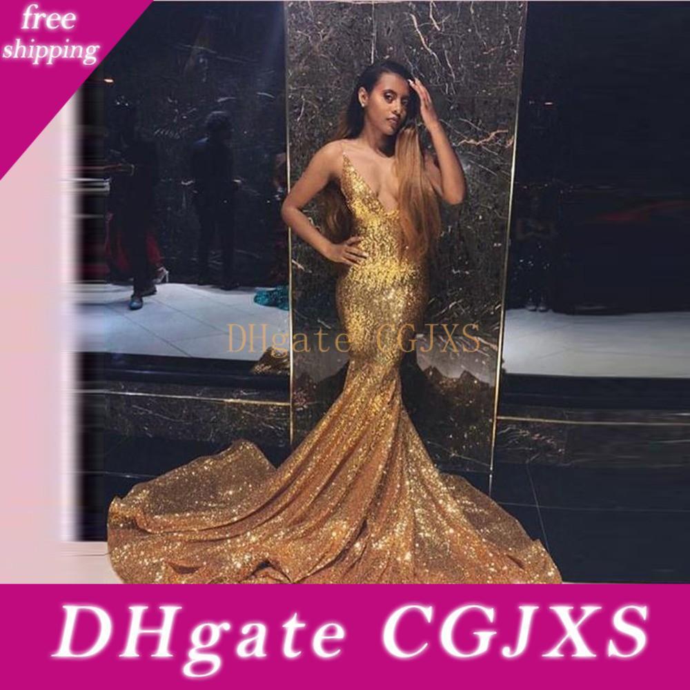 GoldSequined Mermaid Abendkleider 2020 Spaghetti tiefem V-Ausschnitt Vestidos De Novia Lange Sweep Trompete Abendkleider
