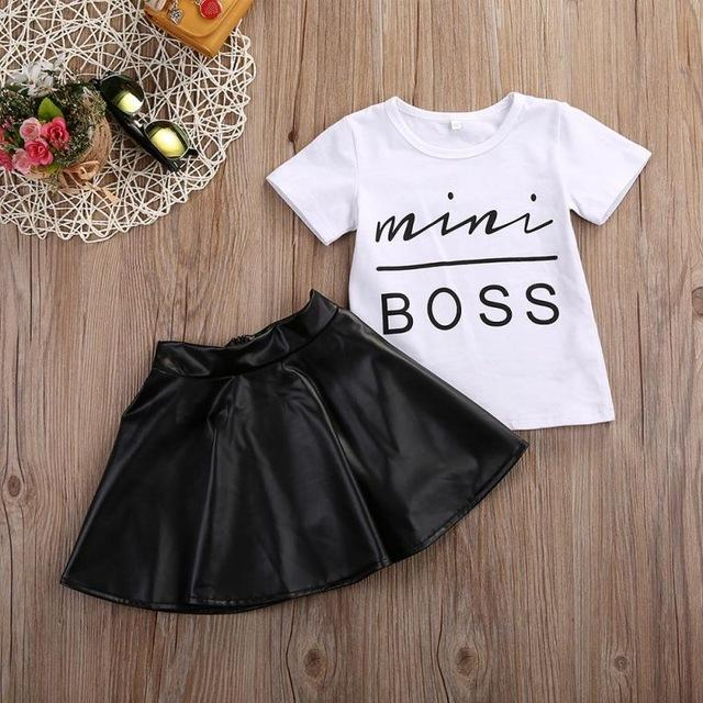 2019 Fashion Girl Clothes Set Short Sleeve Mini Boss Leather T-shirt + Solid Color Skirt Outfit 2PCS Summer Girls Suit