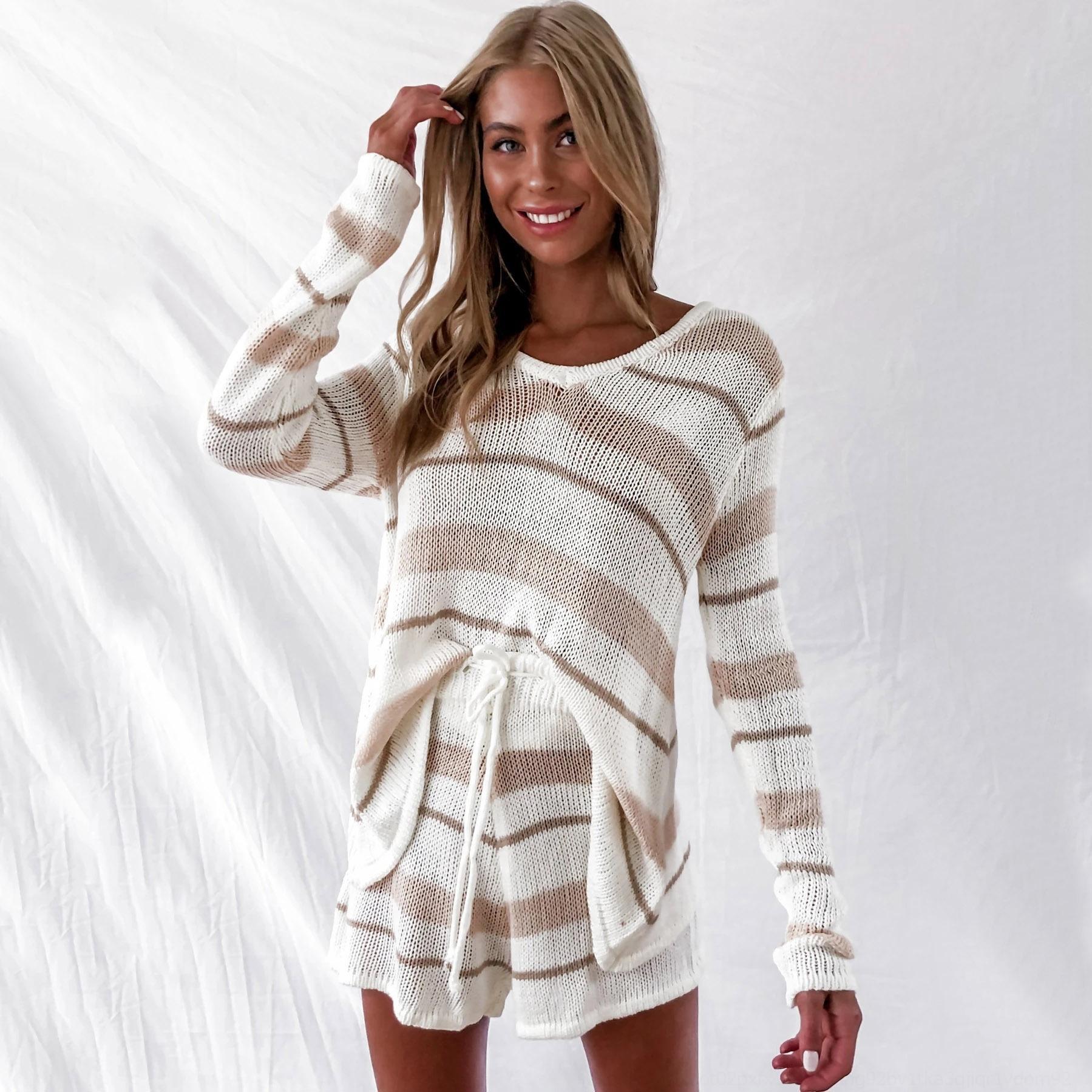wGpE9 2020 rlbld Satz Verkauf neue Art und Weise beiläufige gestreifte zweiteilige heißen Pullover heißen Verkauf beiläufige neue Art und Weise gestreifte Pullover gesetzt zweiteiligen 2020