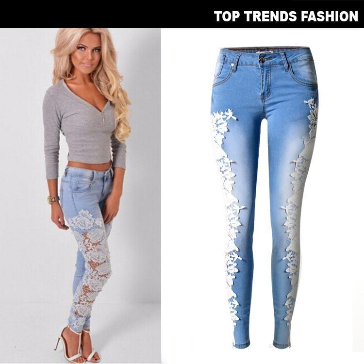 New American Wind European Station Women s Side Lace Wire Hollow Jeans Short legged Trousers and Thin legged Trousers