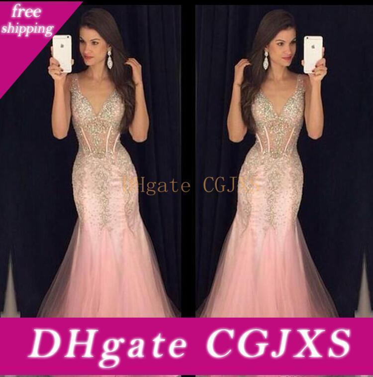 Luxe Robes de bal col en V Robes de soirée 2018 Prom Party Soirée formelle Robes cristaux perles Paillettes robes de soirée