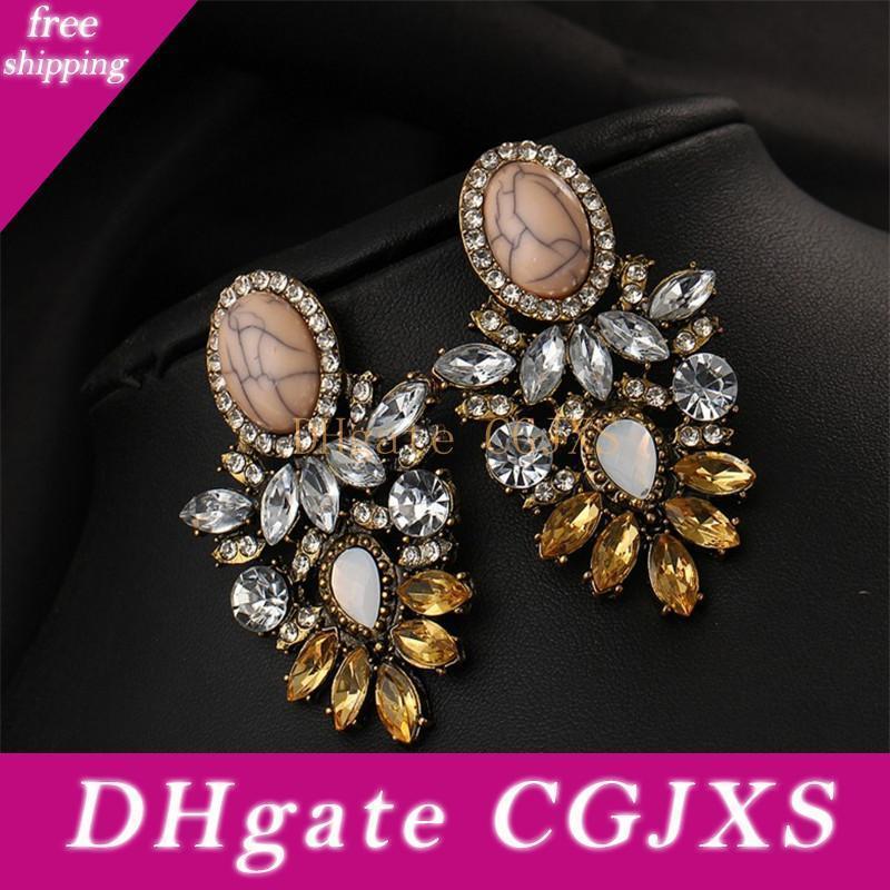 Buena calidad grande de cristal flor del pendiente de Nueva Declaración de joyería Hz joyería de moda Pendientes de la vendimia para las mujeres