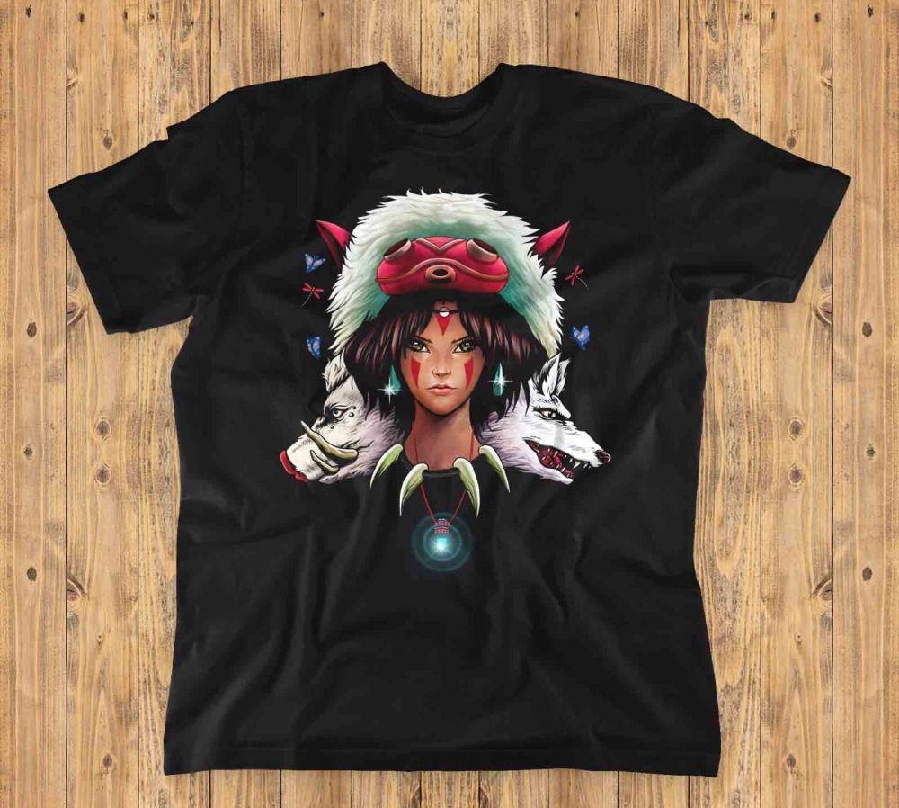 Lupo principessa unisex T-shirt | Mononoke, Miyazaki, Animetshirt Homme 2019 Nuovo Maschio manica corta vestiti di cotone Top shirt design