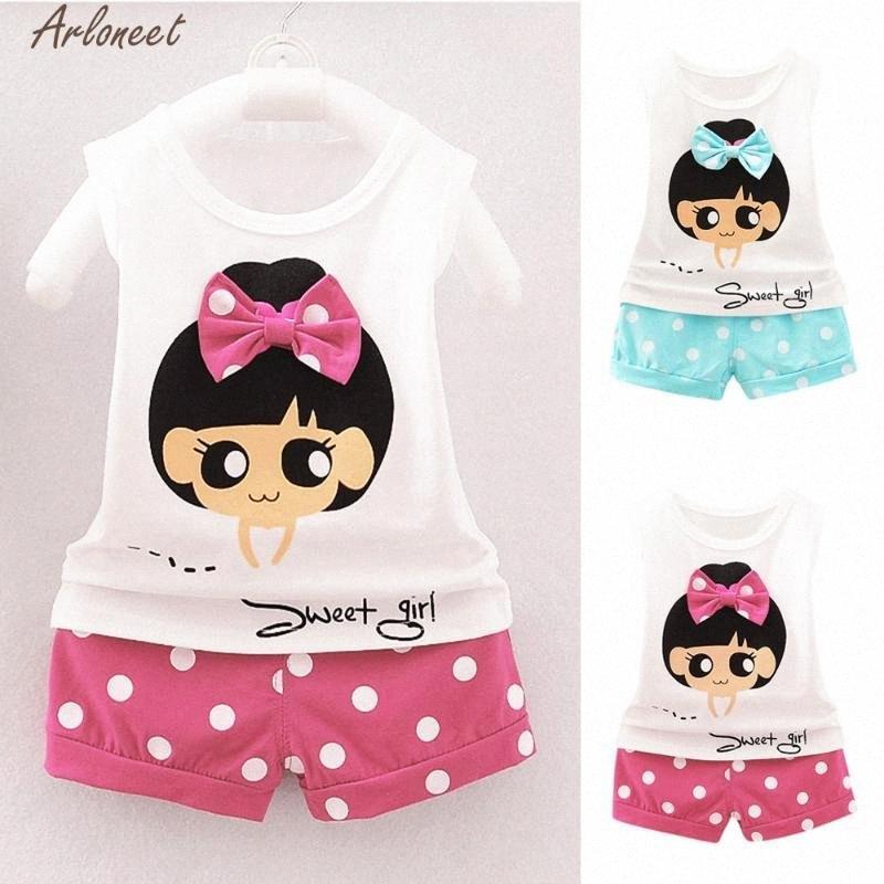 1-6Y criança crianças Bebés Meninas Roupas Define Branco Tops T-shirt Denim Jeans Calças Curtas Outfits Set 18 de maio hFOd #