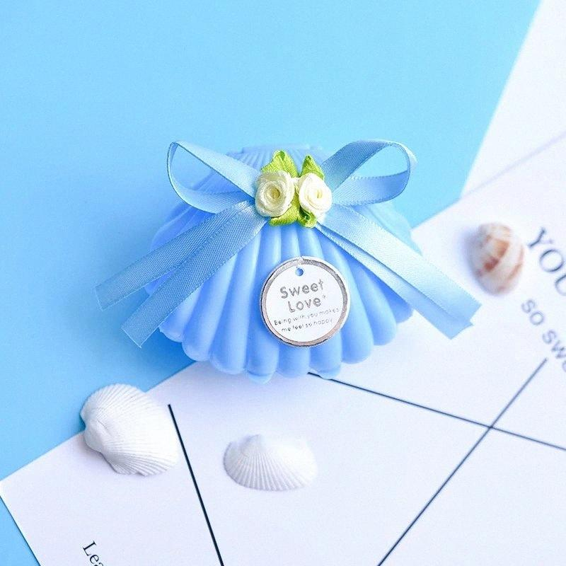 Gioielli coreano dolce di nozze Zucchero sicurezza individuale regalo blu Wedding Shell Box Papieren Tasjes Cadeau Zakjes piccolo regalo Decorative Borse Vv3S #