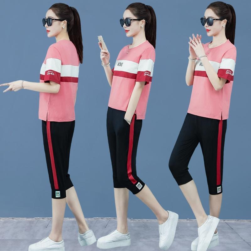 grandi dimensioni di kdaNd Mp04c coreane donne di sport Nuova 2020 pantaloni di modo estate dimagrisce il manicotto breve Capri sport casual per il tempo libero tuta divisibile s