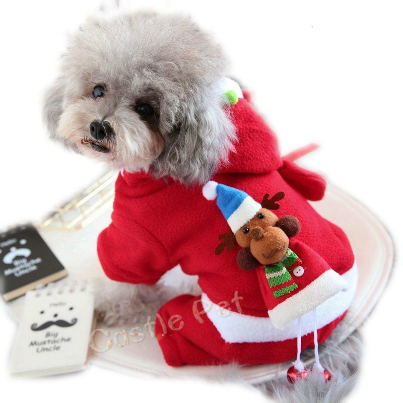 Adorable Dog Coat Costume Santa Claus Clothes Cute Type Male Female Dog Winter Warm Outfit Dog Jacket Apparel Suit with Cap