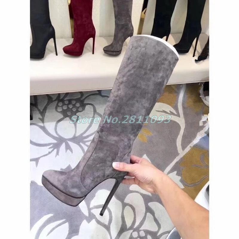 Suede Platform Thin High Heel Boots Zipper Knee High Winter Women Dress Runway Boots Grey Red Black Stiletto Heel Shoes Platform