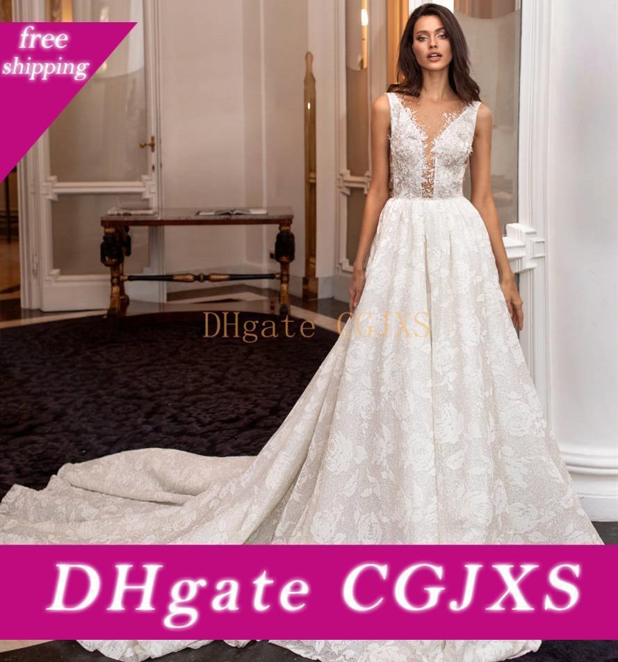 Nouvelle Fabuleuse longue robe de mariée 2020 V -Neck chapelle train sans manches perlage dentelle Backless Robe de Noiva robes de mariée Robes Robes