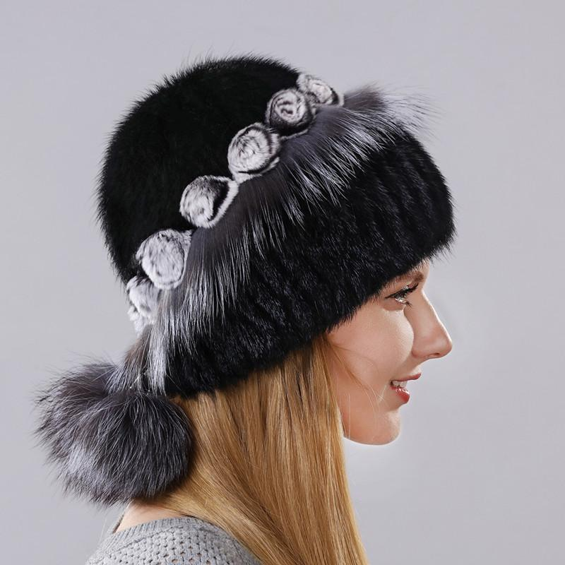 Women's Warm Winter Hat Imported Mink With The Little Flowers Made Of Fur Surround The Cap And Fur And Balls Lower