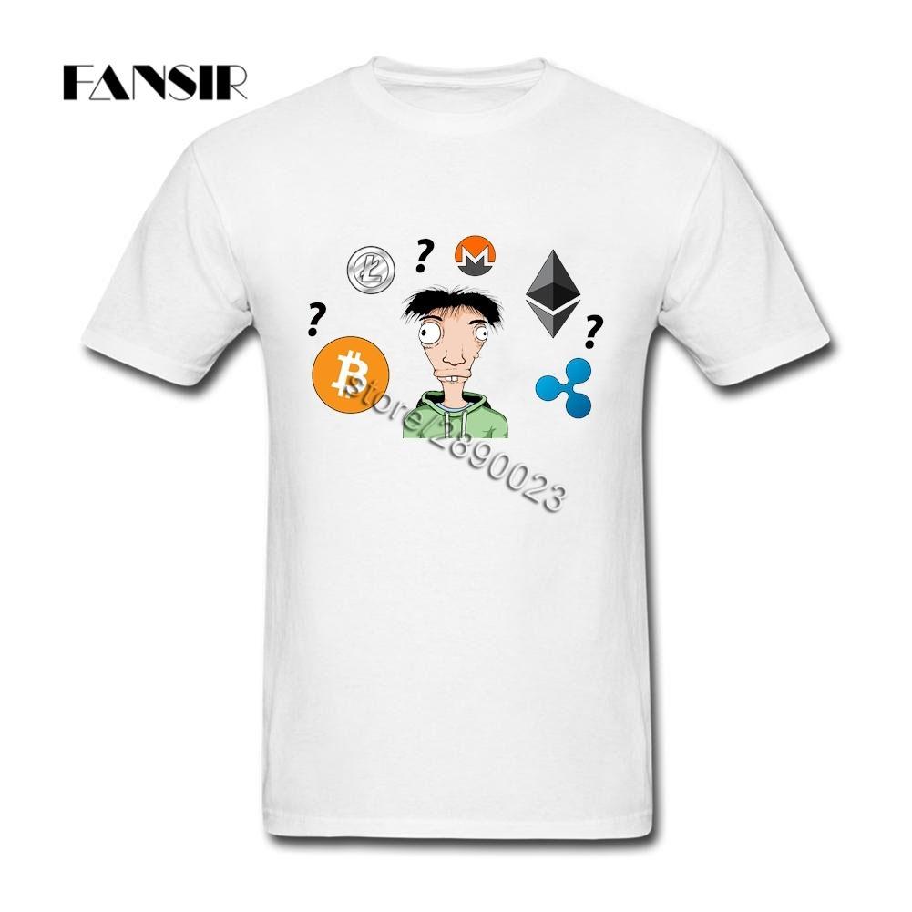 Plus Size Bitcoin litecoin Ethereum Monero Coin Homme Tshirts Homens personalizado algodão de manga curta Homens Camisetas Equipe roupa
