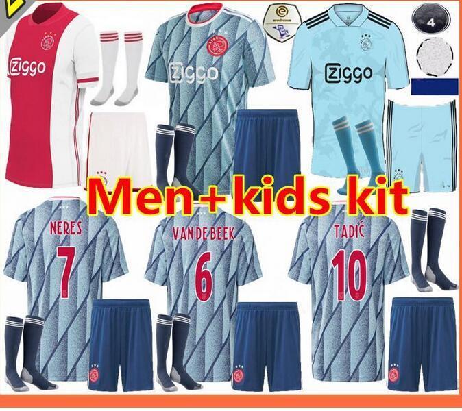 20 21 ajax maillot de football FC 2020 2021 enfants PROMES VAN DE BEEK DAVID NERES TADIC ZIYECH Afc chemises ajax football hommes + kit enfants