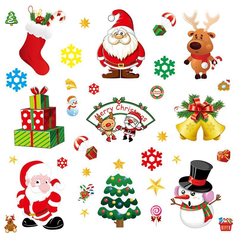 Christmas Window Stickers Electrostatic Paste Stickers Home Decoration Pendant New Year Christmas Santa Claus Glass Window Sticker