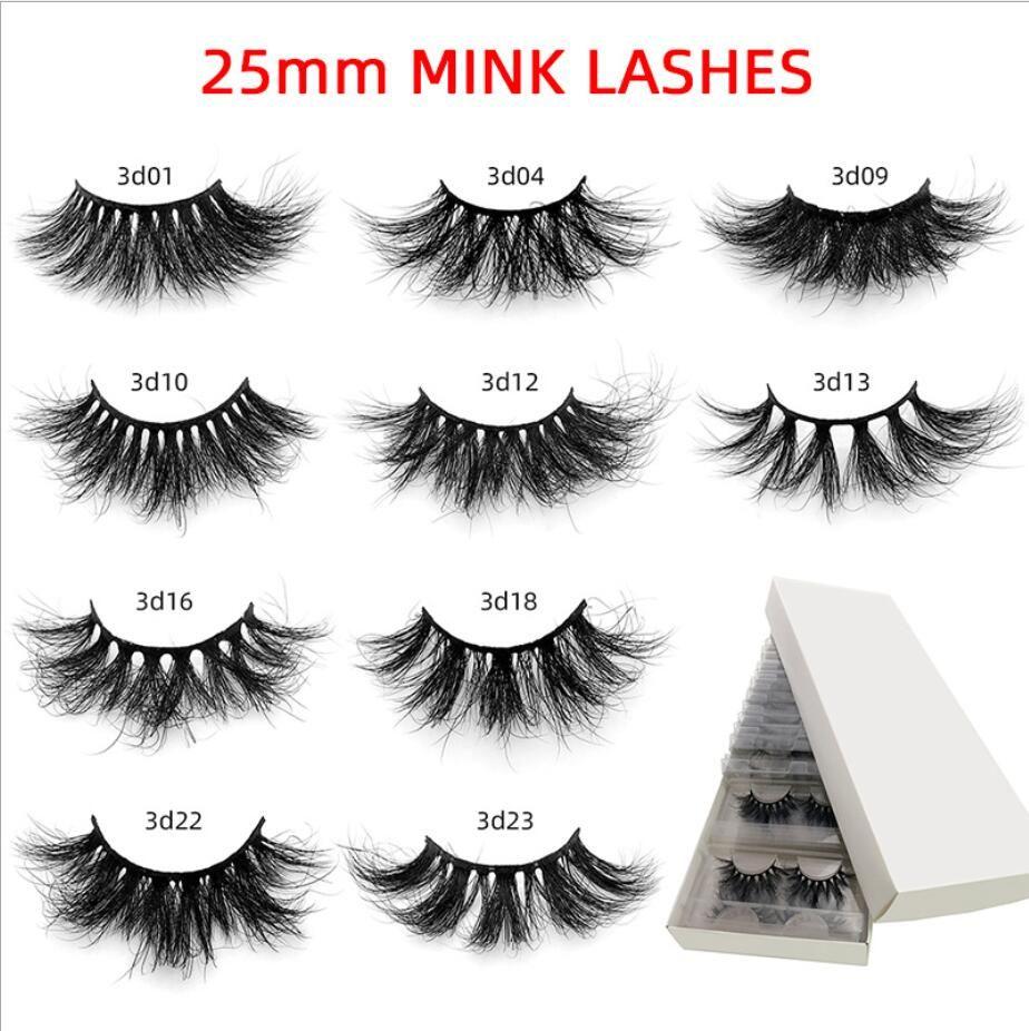 10 pairs/pack 3d mink lashes Bulk wholesale Fake 25 mm mink eyelashes Lash Vendors Natural False Eyelashes Individual Lashes