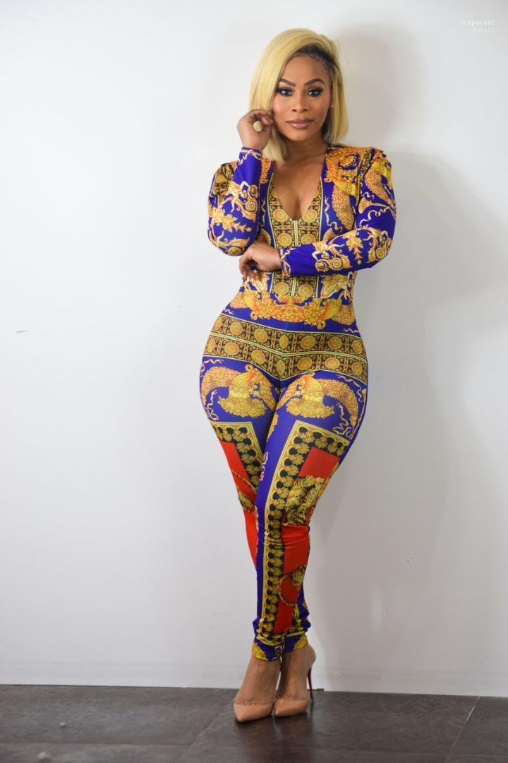 Abbigliamento Plus Size Women Designer tute One Suits parte stampata skinny con scollo a V Sexy Maniche lunghe
