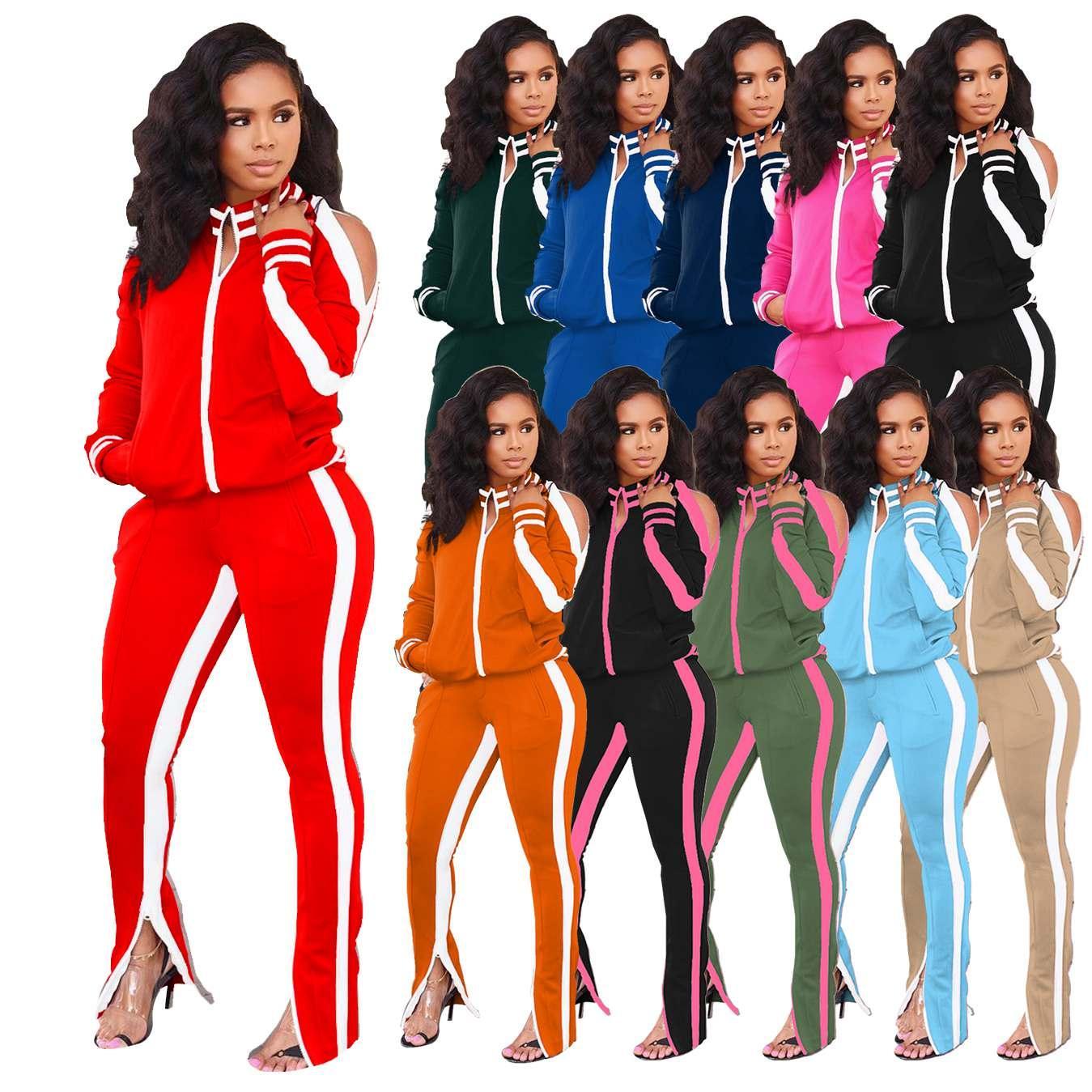 Plus Size Casual 2 Piece Set Women Festival Clothing Front Zipper Long Sleeve Coat +Zipper Up Pencil Pant Fall Winter Sweatsuit