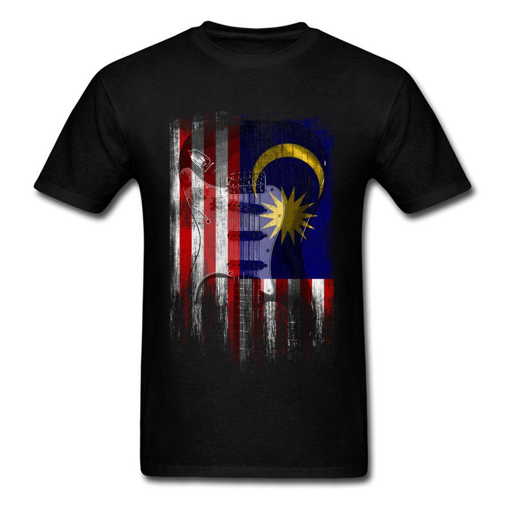 Buena camisetas baratas de los hombres de la vendimia Guitarra Malasia Bandera Impreso en las camisetas de moda de verano de manga corta Sin bolsillo Diseño Teeshirt
