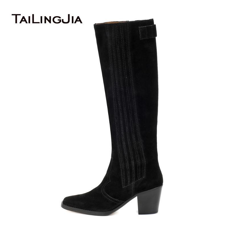 Diz Yüksek Texas Boots Blok Topuk Kovboy Çizme İçin Kadınlar 2020 Siyah Batı Kadın Uzun Boylu Boot Bayanlar Kare Burun Kış Ayakkabı