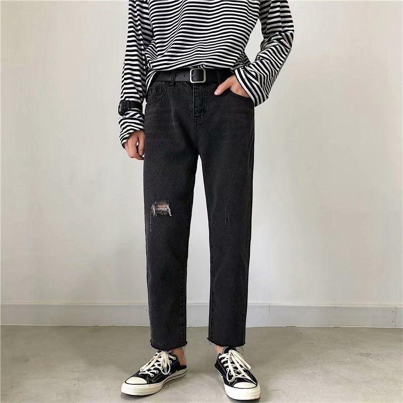 Разорванные свободно и Трусы и джинсы джинсы мужских прямые модные иных долго Net красного все-матч падение чувства большой нога папа брюки заусенцы