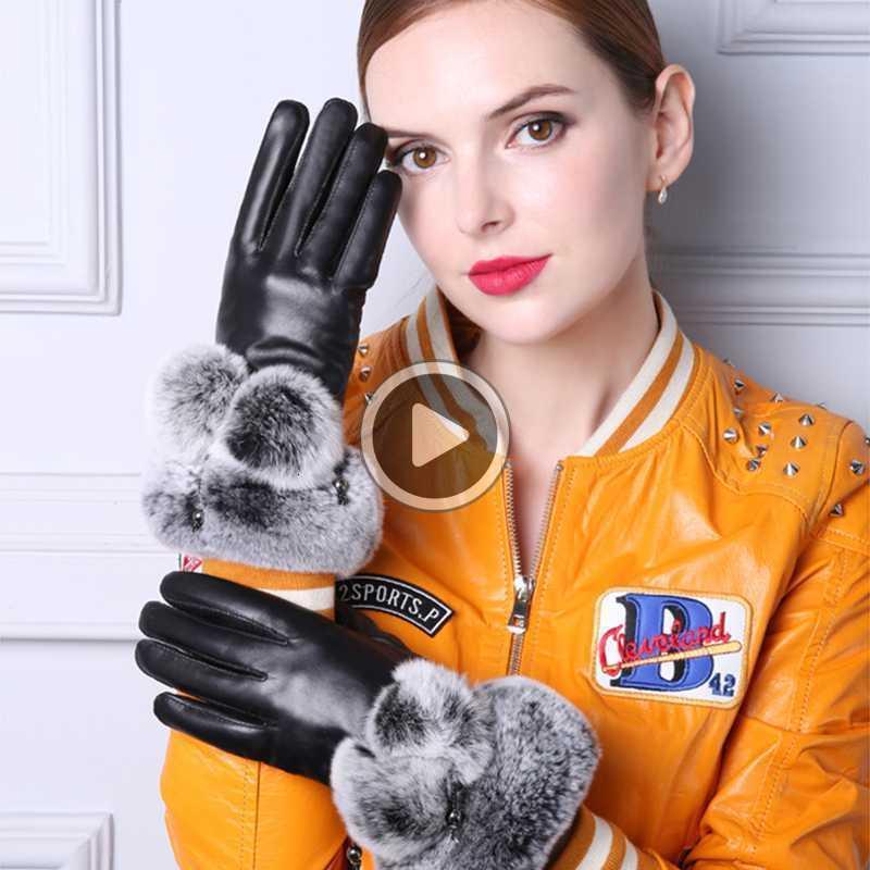 Signora Women reale nero Guanti in pelle Finger Gloves addensare invernali tenere in caldo dello schermo Rex Fur Mittens tocco di eleganza