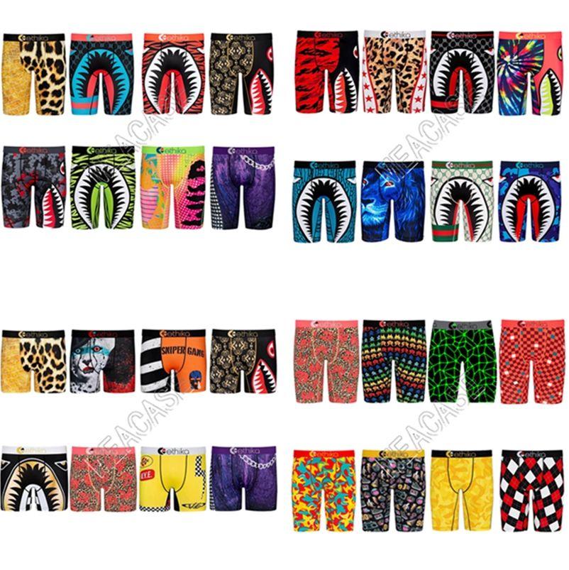 32 Stiller Hızlı Kuru Erkekler Külot Boksörler Tasarımcılar Giyim Uzun Boks kısa külotlar Köpekbalığı Karikatür Plaj Spor Şort Boxer pantolon külot D81705