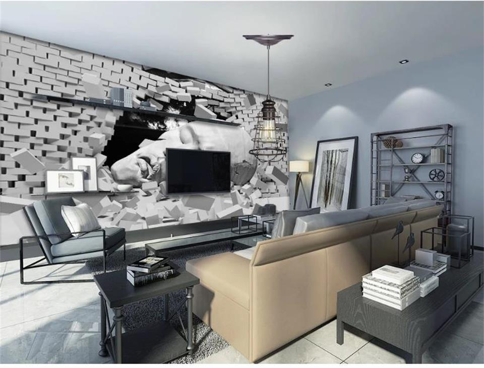 Benutzerdefinierte 3D-Raum Fototapete Mural Sleepers Skulptur-3D Brick Bild Gemälde Moderne Kunst Kreative Wohnzimmer Hotels Studie Kulisse Tapete