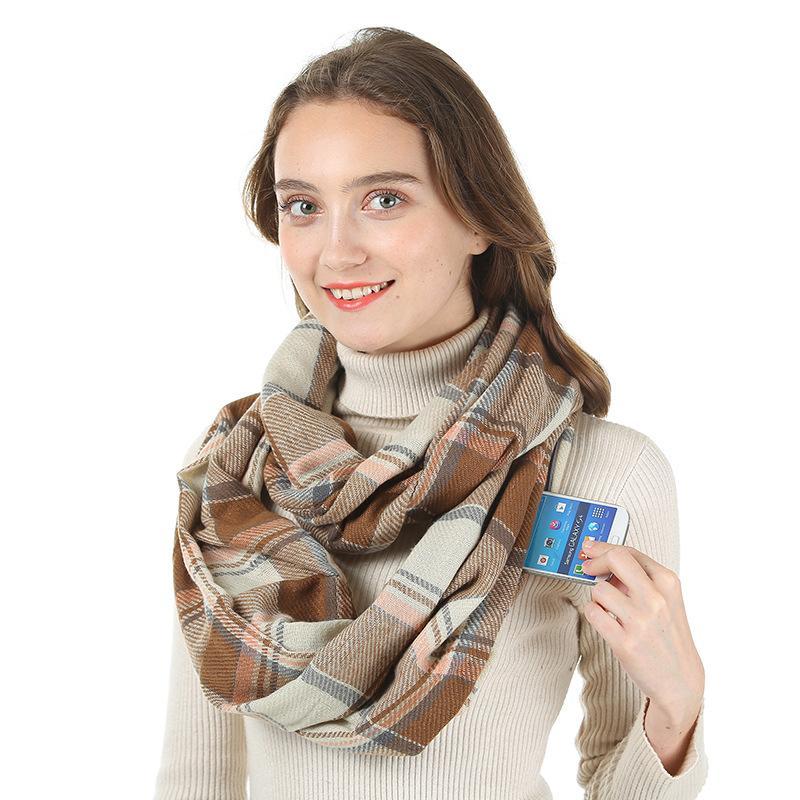 Moda Lenços Imitação Cashmere e senhora homens ilimitado confortável bolso Neck Invisible Zipper Armazenamento Viagem Scarf