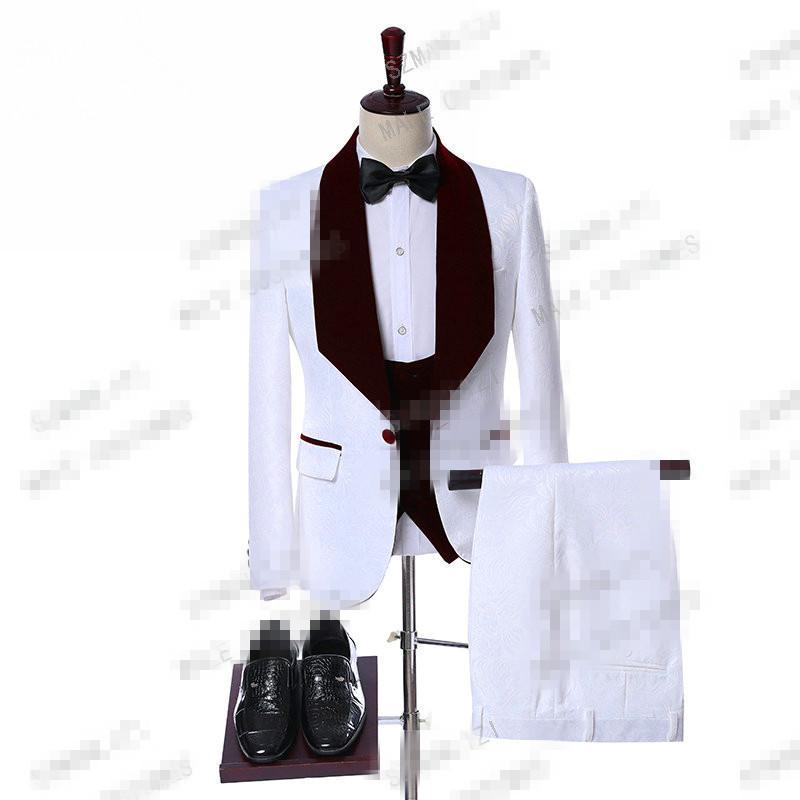 Trajes de boda de los hombres elegantes Real 3 Piezas Trajes Slim Fit padrinos de terciopelo de la solapa del partido blanco del novio de la boda de Paisley para hombre