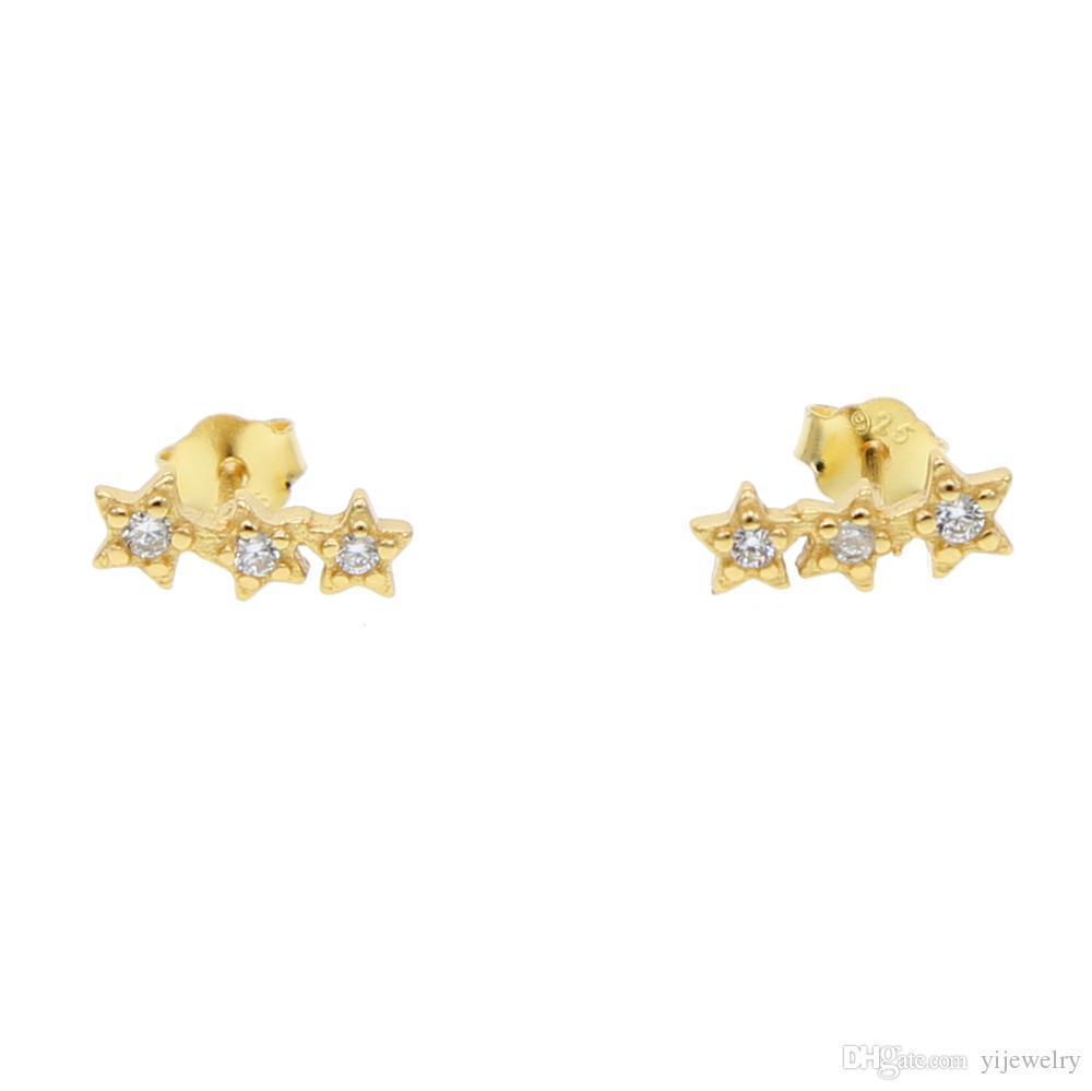 triple boucle d'oreille petite étoile pour fille 925 argent sterling minimum bijoux délicats