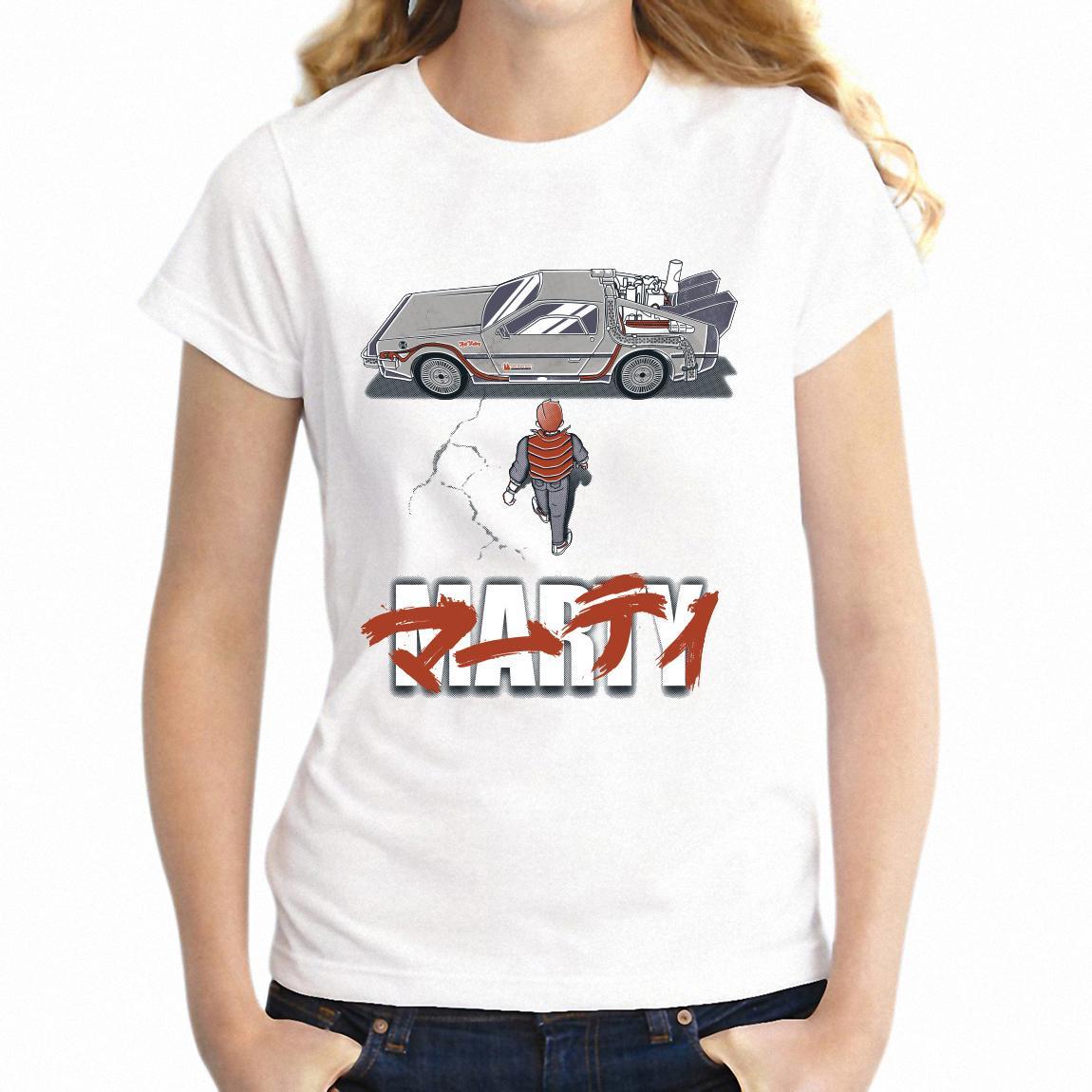 Shirt T Shirt T femminile Ritorno Al Futuro Delorean Tempo Spostamenti Auto Dmc-12 Marty McFly impressionante della ragazza Tee