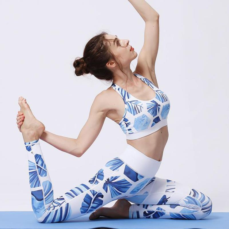 Yoga Outfits 2021 Style 2 Piece Bra+Pants Women's Tracksuit Sportswear Sports Suit Set Gym Fitness Clothes For Sport Customs