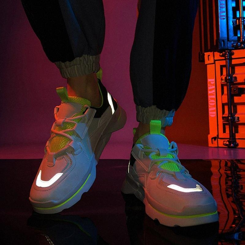 Yansıtıcı Erkek Spor KbFC # Koşu Nefes Mesh Sneakers Man Hip Hop Streetwear Floresan Ayakkabı Erkekler Moda Açık Ayakkabı