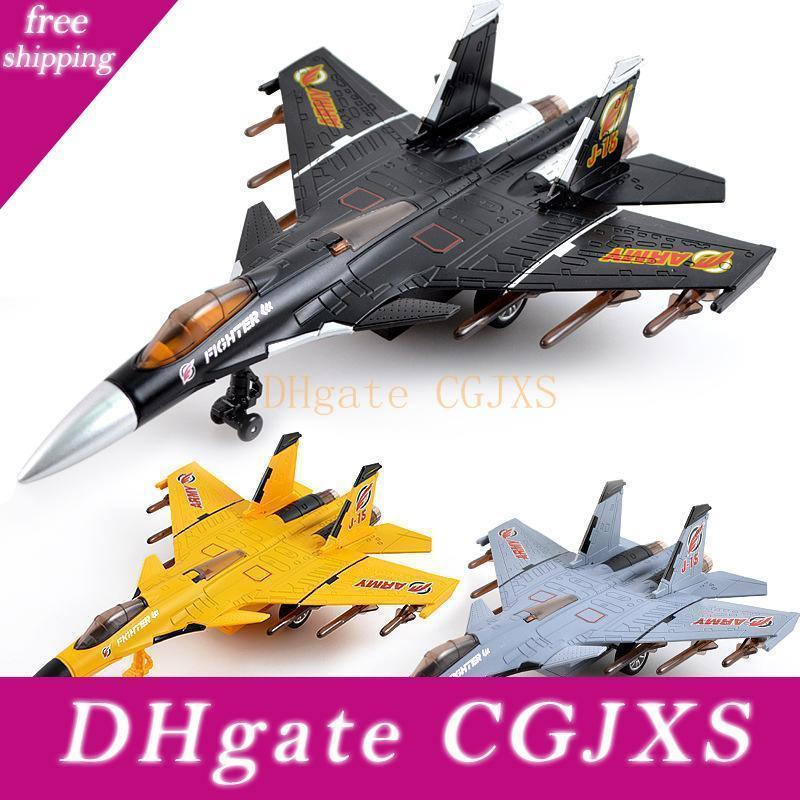New Simulation Pull Back Die Cast Plan Toys avec son et lumière militaire des avions de chasse Jouets Modèle en métal