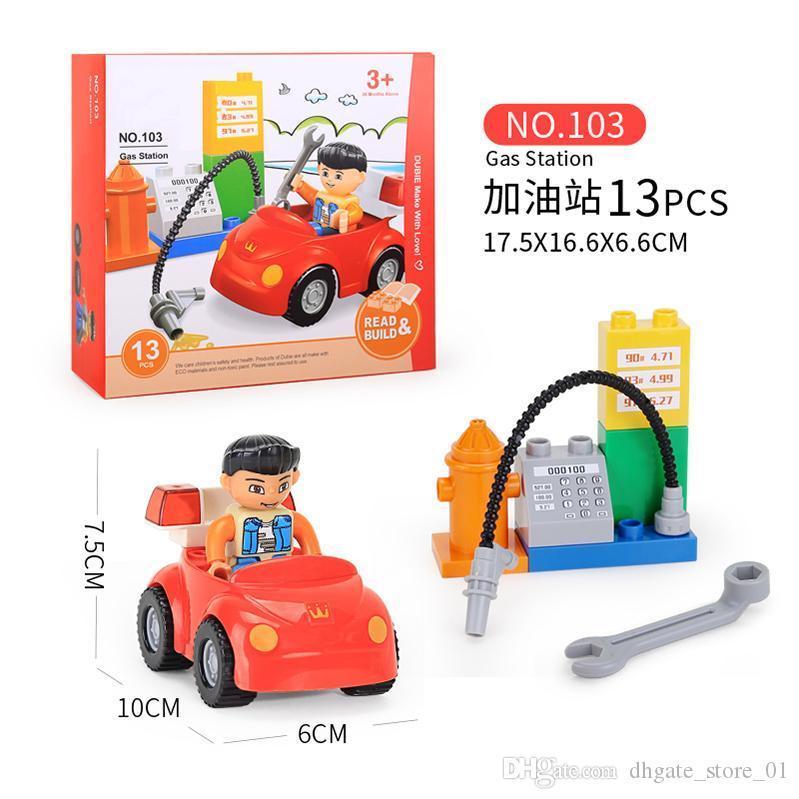 DIY Building Block Colorful Education Brick Intelligence Assemble Model Toy For Children Gift City Bus Station Car Set For Kids 06