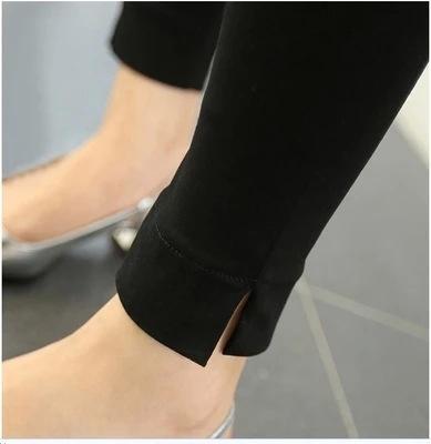 74eXH Mb7Zj S110 pantalon serré automne style coréen Crayon crayon noir fendu de serré peut être porté à l'extérieur leggings pantalon stretch Slim Fit