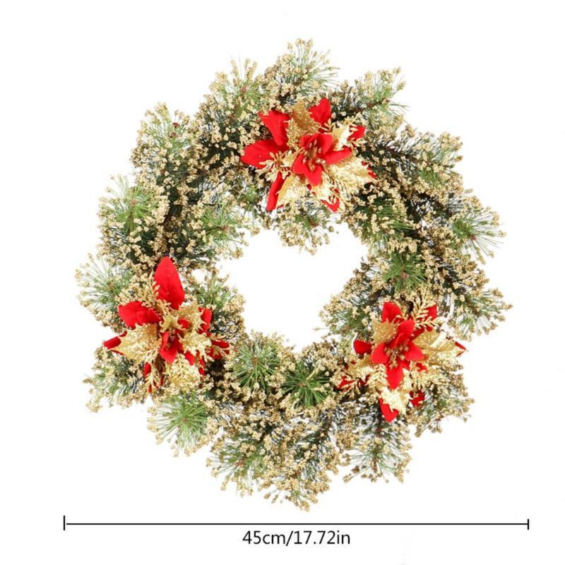 Artificial Wreaths Door Hanging Wreath Garland with Christmas Flowers for Home Wedding Decoration