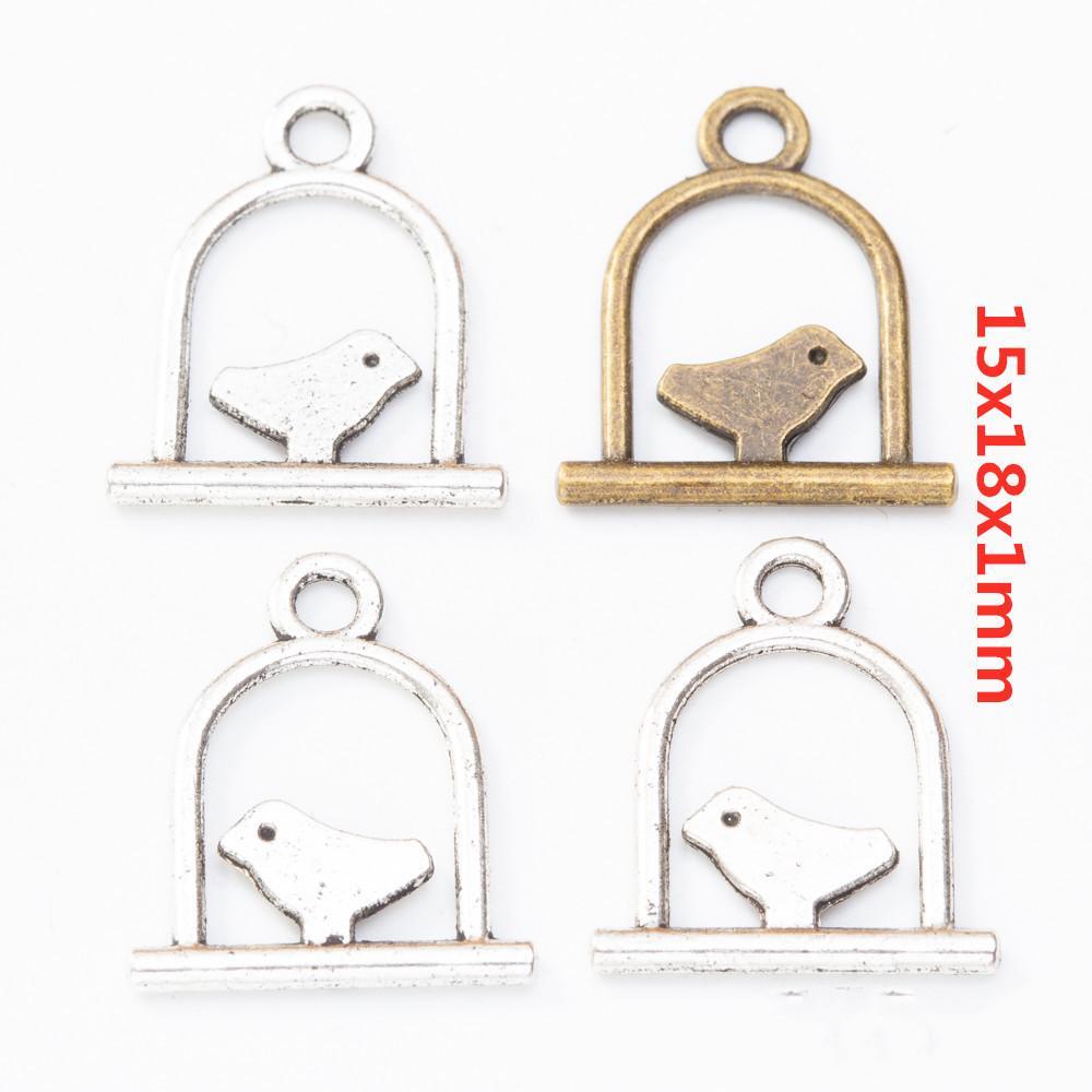 200pcs incanta 15 * 18mm tibetano argento birdcage Vintage pendenti del bronzo della gabbia di uccello per la collana del braccialetto dell'orecchino della creazione di gioielli fai da te