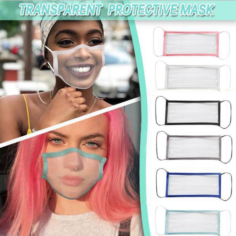 50pcs DHL completa Transparente Máscara Protetora respirável surdo-mudo Máscaras Lip línguas para adultos Homens Mulheres cor sólida afiação Anti-pó cara